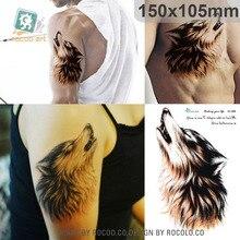 personality domineering Wolf King  flower arm tattoo waterproof SC2908