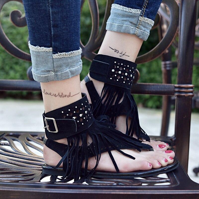 AGUTZM New Bohemia Gladiator Flat Women Sandals Woman Open Top Flip Flops Vintage Women Shoes Beach Tassel Sandals 35-44