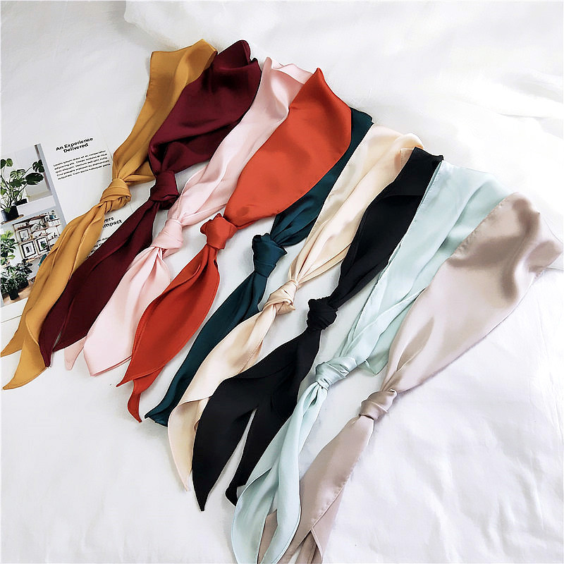 2018 Women Fashion Ribbon Silk Scarf Beautiful Solid Design Girls Neckerchief Hair Band Bag Handle Wraps Small Neck Scarves(China)