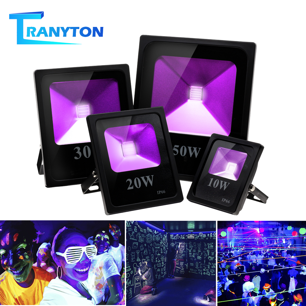 10W 20W 30W 50W UV LED Floodlight Waterproof Black Light Party Neon Lighting High Power Ultraviolet LED Flood Light for Stage