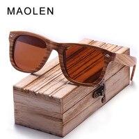 MAOLEN DESIGN HAND MADE Wooden Sunglasses Men/Women Retro Polarized Sun Glasses 100% UV Protection Square Shades
