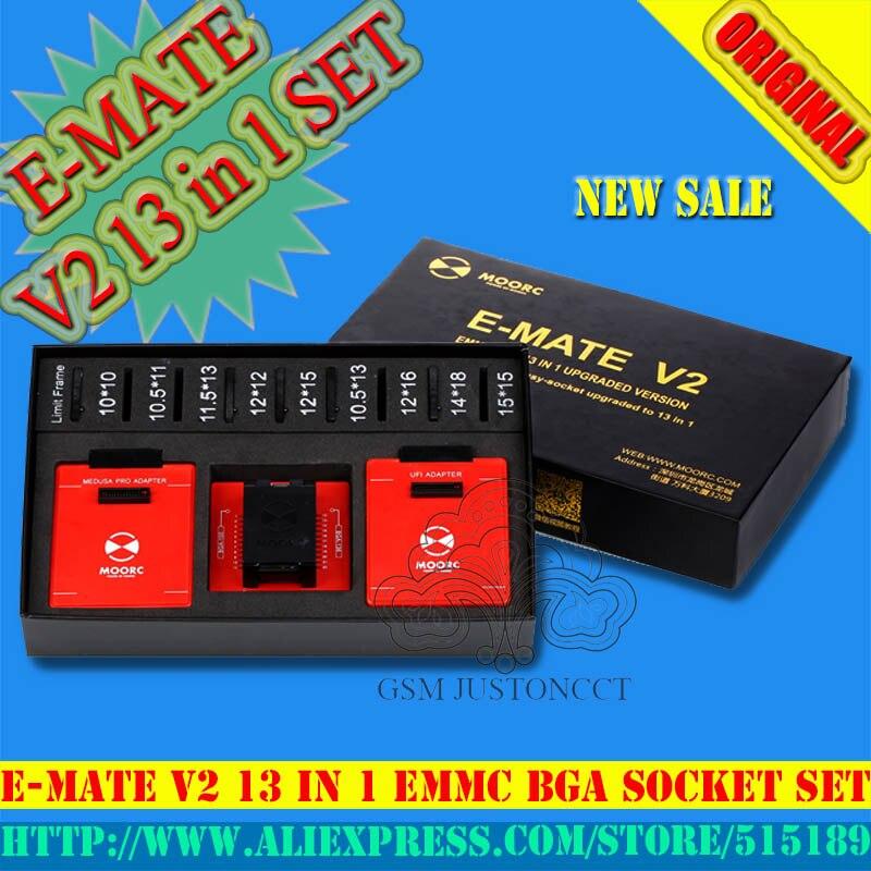 E-MATE V2 Emate pro scatola di Supporto di aggiornamento a 13 IN 1 Bga 153,169,162,221,529,100,136,254 per ufi, riff, easyj-tag, medusaboxE-MATE V2 Emate pro scatola di Supporto di aggiornamento a 13 IN 1 Bga 153,169,162,221,529,100,136,254 per ufi, riff, easyj-tag, medusabox