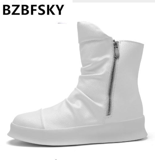 Hip hop Fashion autumn winter Men Chelsea Boots Slip-On Dress Shoes Dancing Footwear Platform High Top Sneakers Martin Boots ...