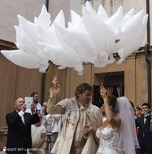 100ชิ้น/ล็อต104*54เซนติเมตรนกพิราบสันติภาพนกพิราบบอลลูนตกแต่งงานแต่งงานฮีเลียมG Lobosพองเจ้าบ่าวเจ้าสาวแต่งงานอุปกรณ์-ใน ลูกโป่งและเครื่องประดับ จาก บ้านและสวน บน   1