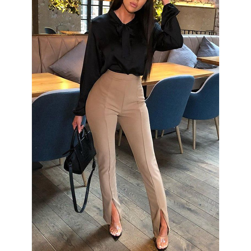 2019 Plus Size Women Casual OL Office Pencil Trousers Split Elastic Waist Straight Leg Suit   Pants     Capris   Female   Pants   Hot Autumn