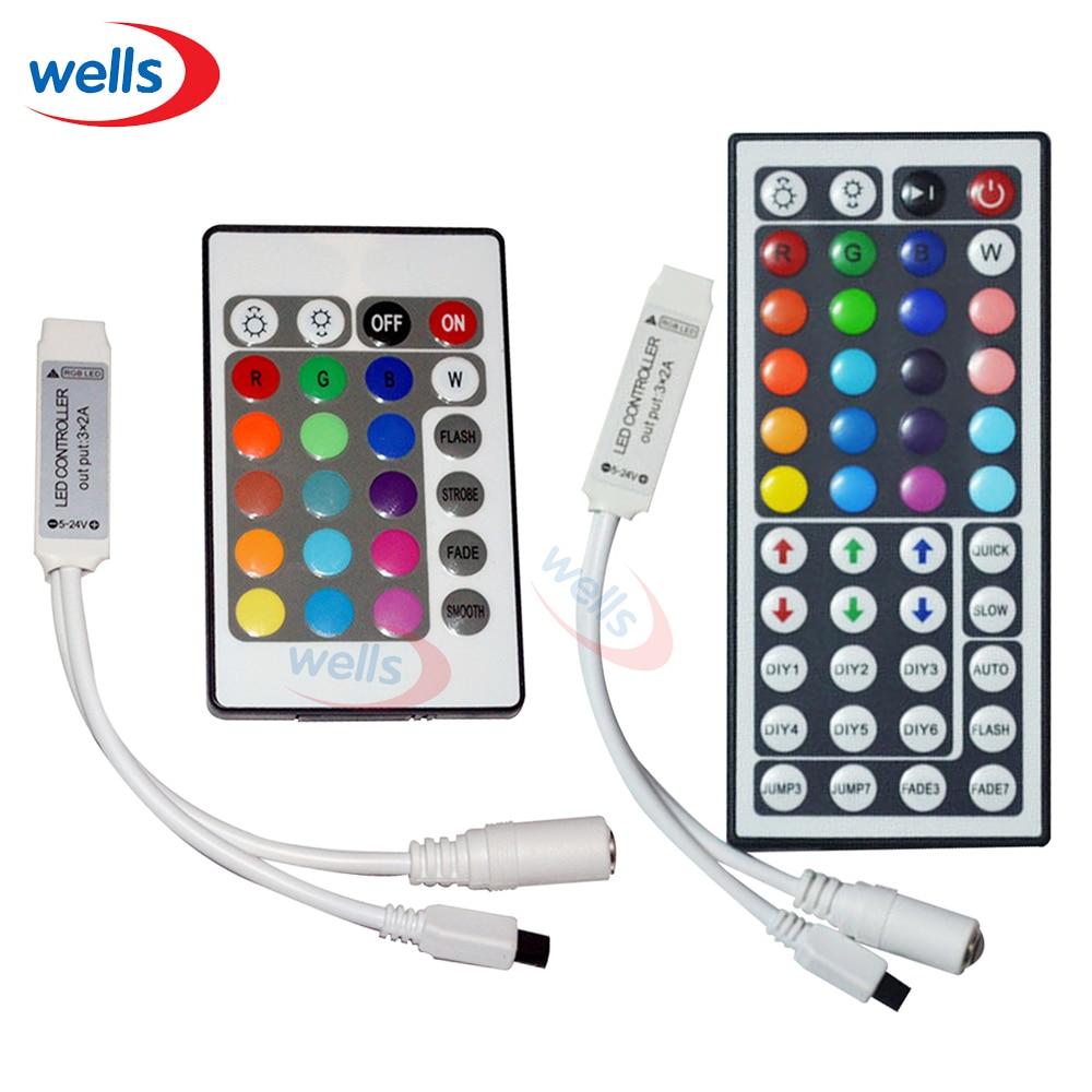 Seneste LED 1 stk 24 nøgler 44 nøgler LED IR trådløs RGB-kontrol DC12V 6A Brug til 5050 3528 RGB LED strimmellys