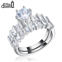 Unique Finger Rings Set Platinum Plated Clear Zircon Women 3 Wearing Style Ring Fashion Jewelry DAR055