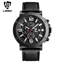 2017 Marca de Lujo de Los Hombres Relojes LIEBIG Multi-dial Correa de Cuero de Cuarzo Reloj de pulsera Impermeable Relojes Deportivos Relogio masculino 1017