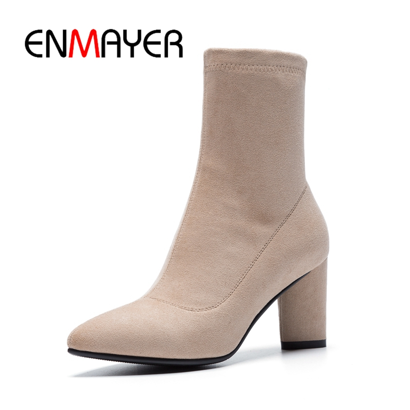 ENMAYER  Pointed Toe  Basic  Zip  Flock  Ankle  Womens Winter Fashion 2018  White Boots  Booties  Boots WomenSize34-39 ZYL1741ENMAYER  Pointed Toe  Basic  Zip  Flock  Ankle  Womens Winter Fashion 2018  White Boots  Booties  Boots WomenSize34-39 ZYL1741