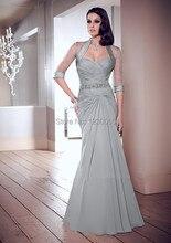 vestido de festa Free shipping Chiffon Sweetheart Grey Formal gown Mermaid long Evening Dress With jacket 2015 prom dresses