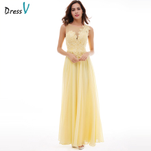 Dressv påskelilje applikationer lang aften kjole 2017 billig en linje ærmerøs blonder op chiffon formelle prom fest kjole aften kjole