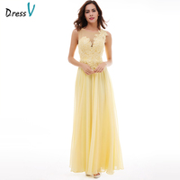 Dressv Daffodil Appliques Long Evening Dress 2017 Cheap A Line Sleeveless Lace Up Chiffon Formal Prom