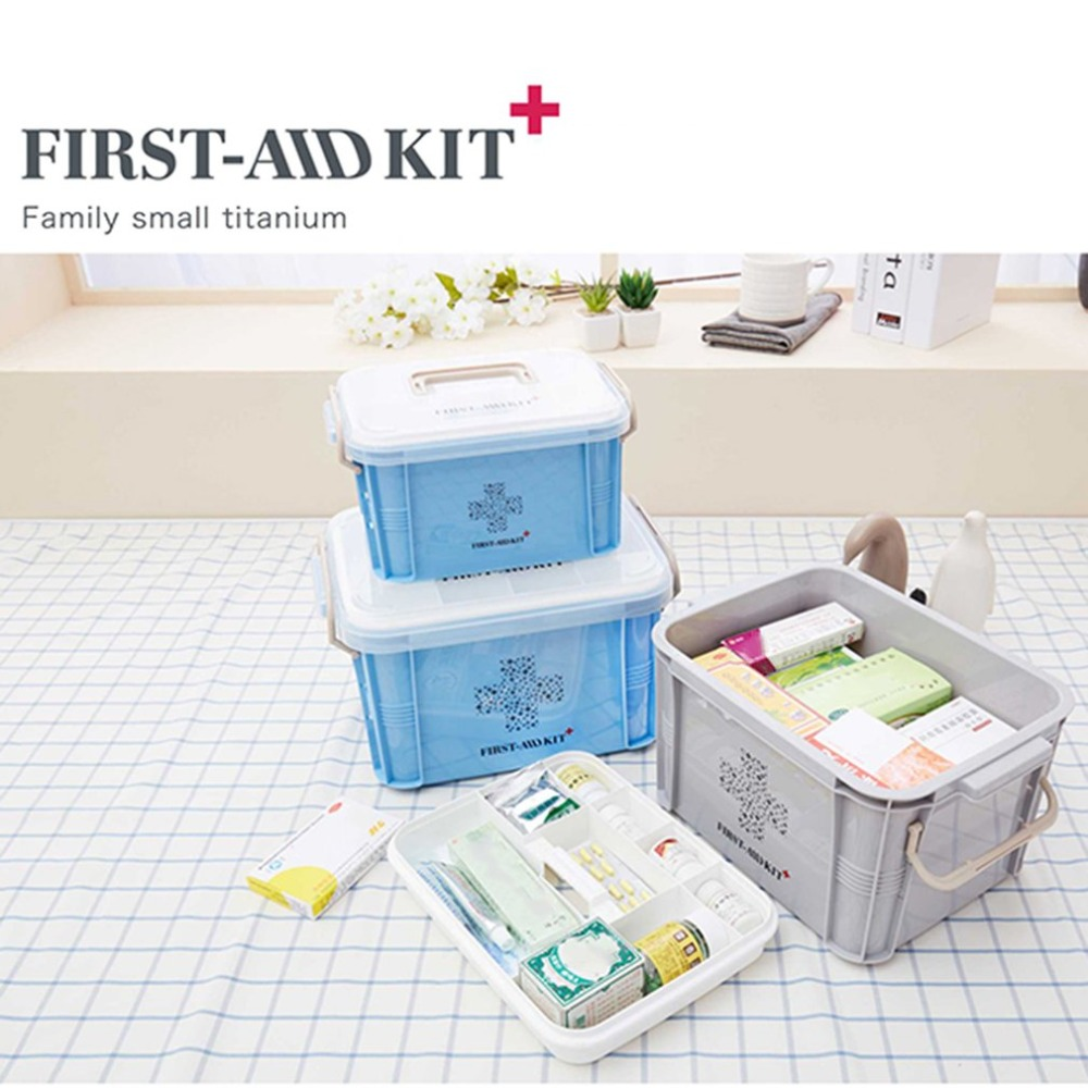 Mais novo kit de primeiros socorros caixa de medicina recipiente plástico kit de emergência portátil multi-camada grande capacidade organizador de armazenamento