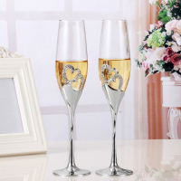 2019 Newly 2pcs Set Wine Glass Goblet Heart Shaped Durable For Wedding Engagement Champagne