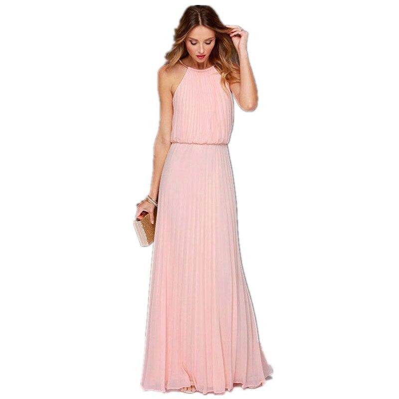 Women Pleated Chiffon Sexy Long Party Summer Dresses 2017 Elegant ...