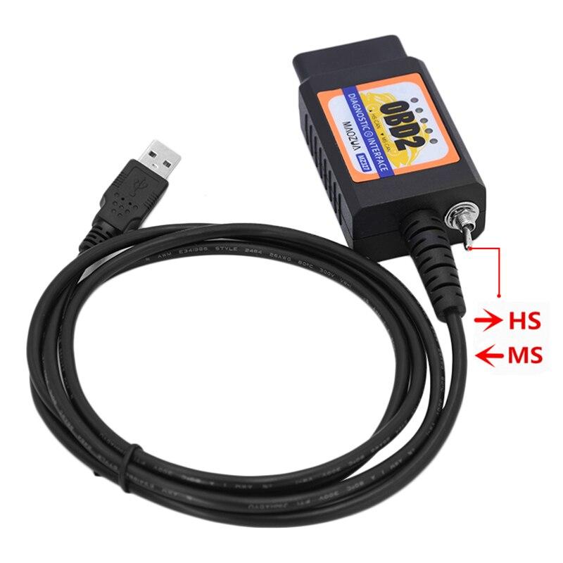 ELM327 MZ327 USB V1.5 modifié interrupteur pour Ford ELMconfig CH340 + 25K80 puce HS-CAN/MS-CAN ouvert cachée Anglais et russe