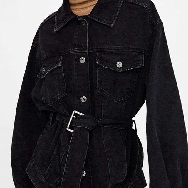 Winter Long Jeans Jacket Women Oversized Black Denim Jacket Autumn