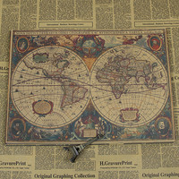 Free Ship World Map Ancient Sailing Vintage Kraft Paper Poster Retro Living Room Wall Art Crafts