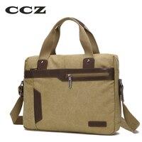 CCZ Canvas Bag 14 Laptop Computer Bag Shoulder Handbags For Men Work Bag Mens Crossbody Bag