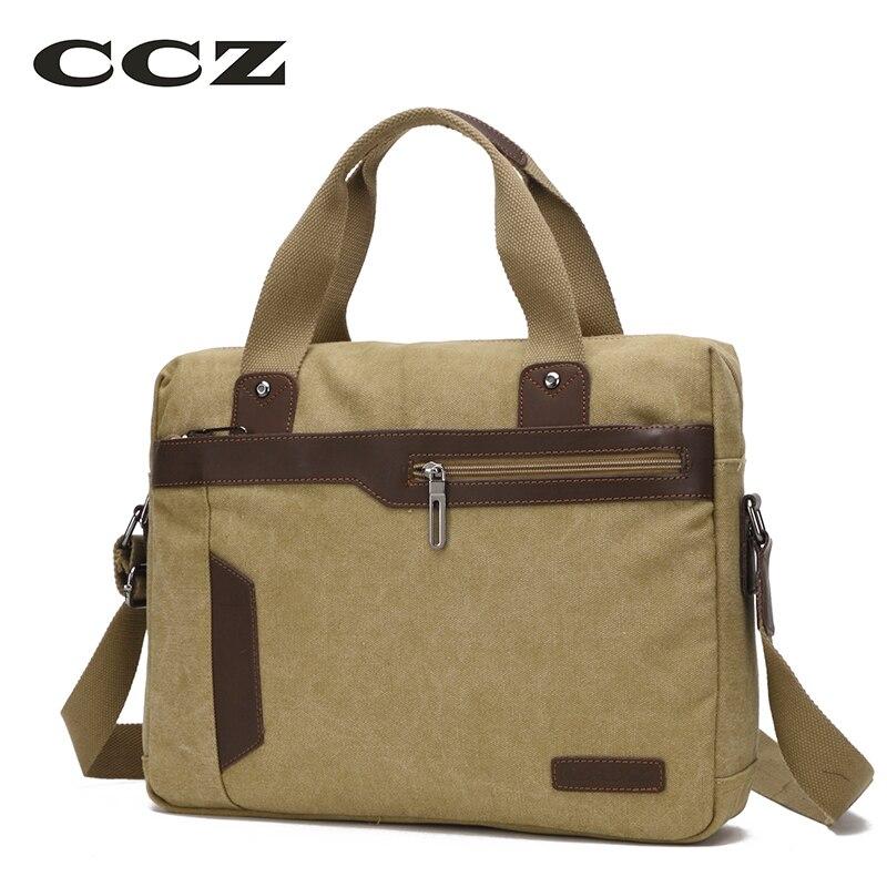 CCZ Canvas Bag 14 Laptop Computer Bag Shoulder & Handbags For Men Work Bag Mens Crossbody Bag Canvas Briefcase HB8007