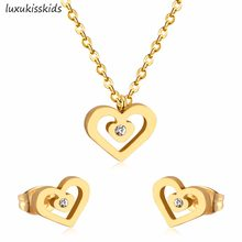 LUXUKISSKIDS Simple Stainless Steel Jewelry Sets CZ Heart Necklace Earrings Sets For Women Party Jewelry(China)