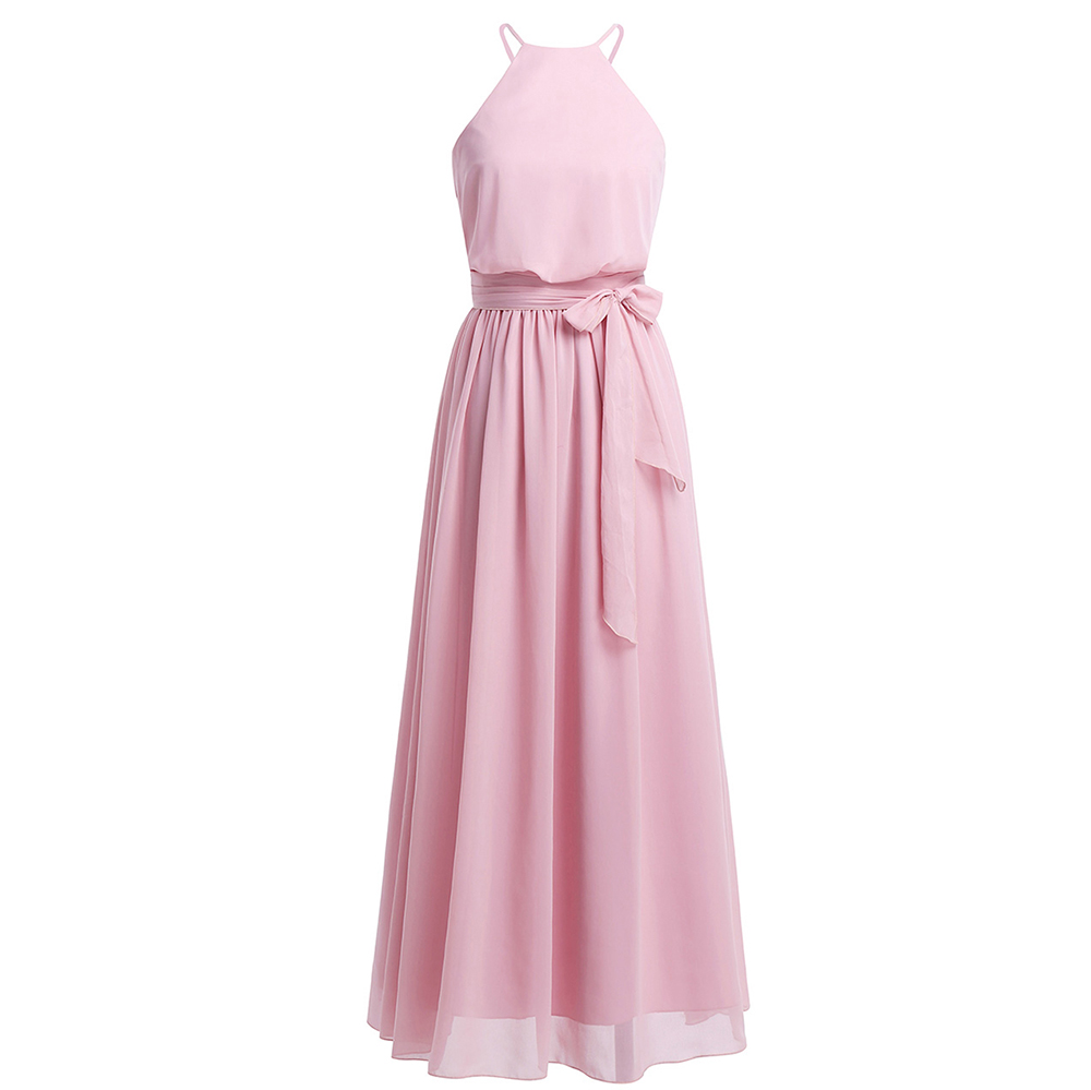 e5972508fdaf4 chiffon iEFiEL Women Ladies Sleeveless Halter Chiffon Long Dress Evening  Party Prom Gown for Vestidos Birthday Party Clothes