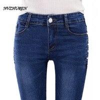 NVZHUREN Women S Jeans Autumn Female Casual Elastic Waist Stretch Jeans Slim Denim Long Pencil Pants