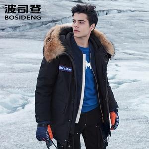 Image 2 - BOSIDENG nouvelle veste en duvet doie dhiver pour hommes épaissir vêtements dextérieur vraie fourrure à capuche imperméable à leau coupe vent de haute qualité B80142143