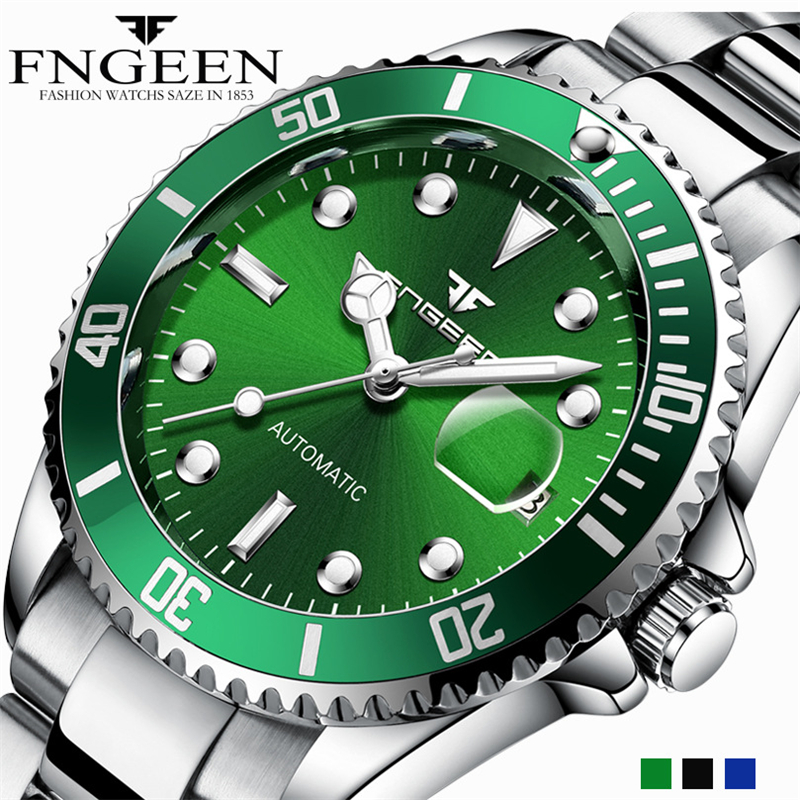 FNGEEN Men Watch Automatic Mechanical Watches 2018 Top Brand Luxury Steel Wristwatch Male Clock Tourbillon Relogio Masculino fashion fngeen brand simple gridding texture dial automatic mechanical men business wrist watch calender display clock 6608g