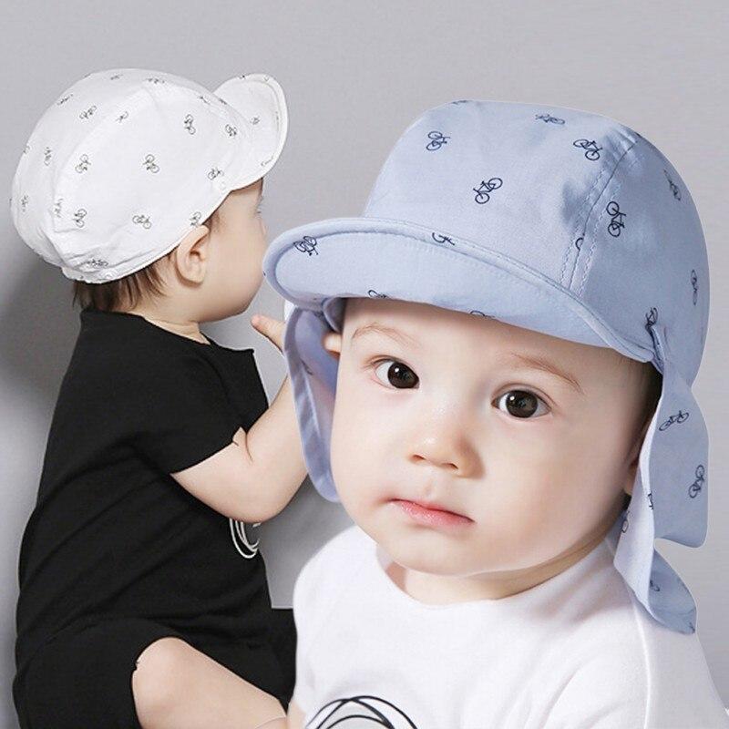 Портативный новый принт Sun Hat Детские летние шапки для детей с мягкой краев съемная для 6-18 месяцев, 2 шт./компл.