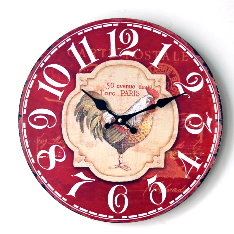 Rooster Wood Creative European Round Colorful Vintage Rustic Decorative Antique cock Home Wall Clock