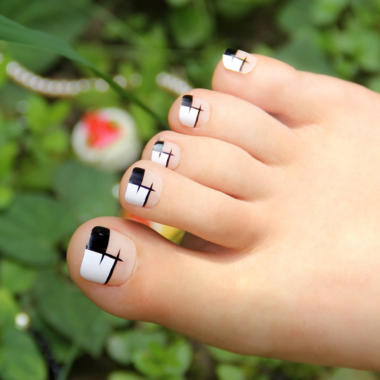Stylish Black White Grid False Toe Nail Art Display Decoration Tips 4 19176 In Nails From Beauty Health On