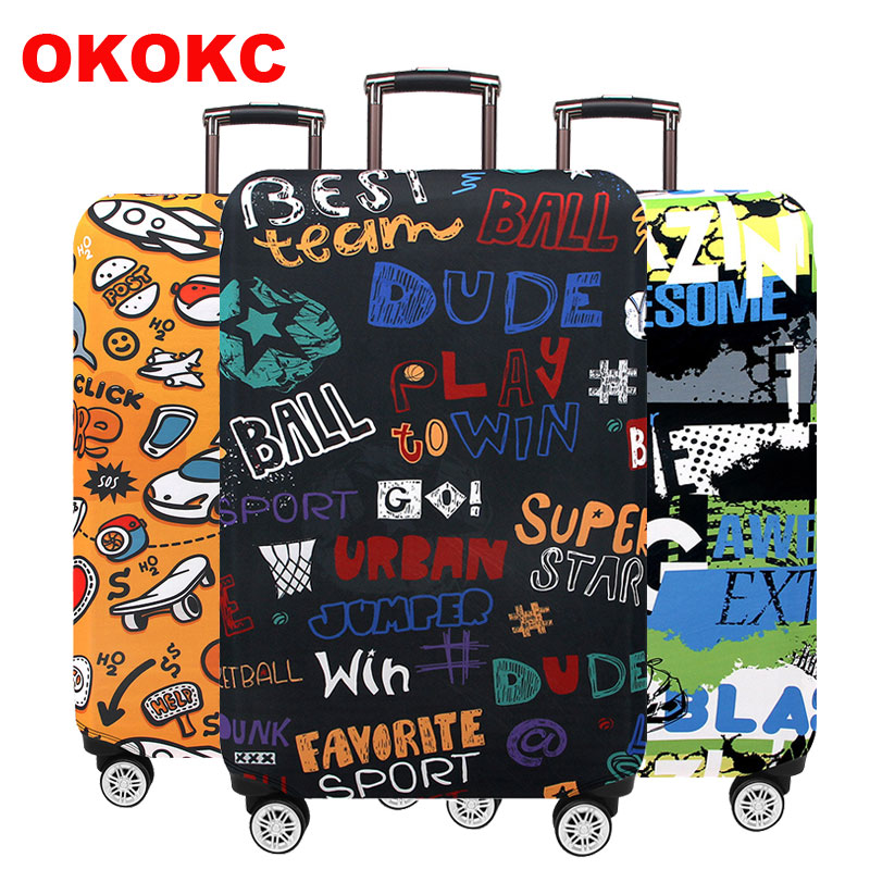 OKOKC Elastic Thickest Graffiti Luggage Cover Suitcase Protective Cover For Trunk Case Apply To 19''-32'' Suitcase Cover