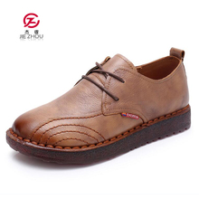 New Handmade shoe 2018 Autumn Loafers Women Shoes Casual Work Driving Shoes Women Flats Genuine Leather Flat shoe tenis feminino