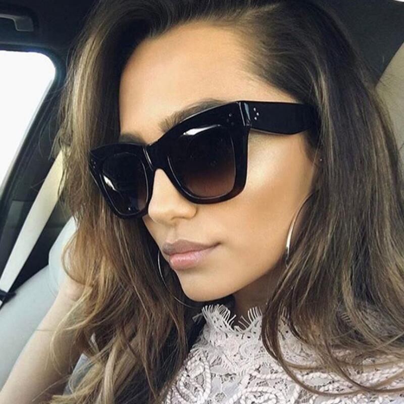 De luxe Rectangle lunettes de Soleil Femmes Marque Designer PC Cadre Gradient Lentille Classique Rivet Nuances Femme Homme Mode Lunettes UV400