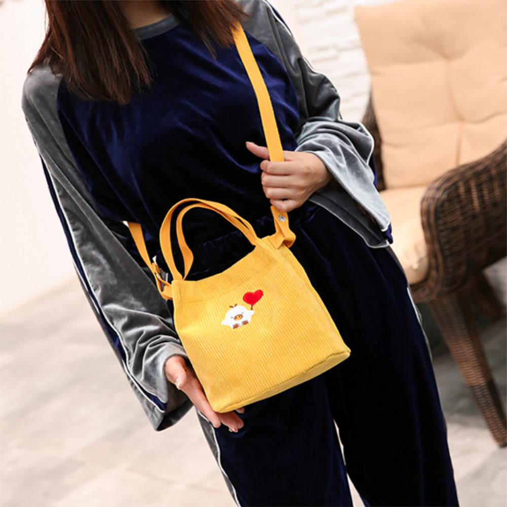 New Arrival Corduroy Bento Small Cute Cartoon Day Clutches Handbags Fashion Casual Lady School Work Office Picnic Handbags
