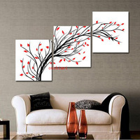 Handpainted 3 Panel Black White Red Wall Art Modern Abstract Oil Painting On Canvas For Living