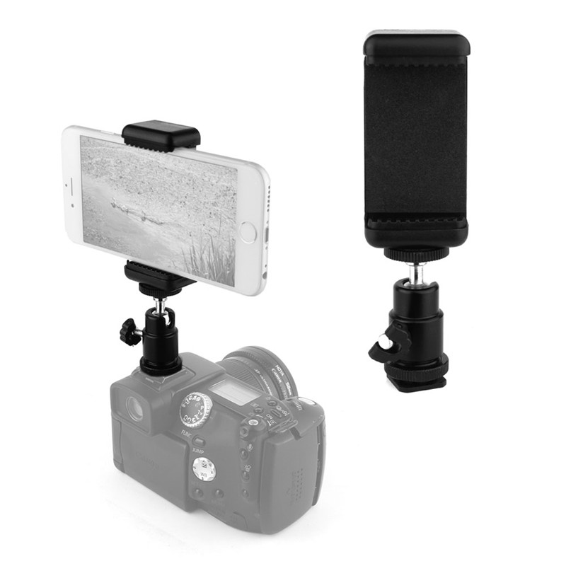 Mobile Phone Clip Holder 360 Ball Head Hot Shoe Adapter Mount Fit For Nikon DSLR SLR Camera P0.16