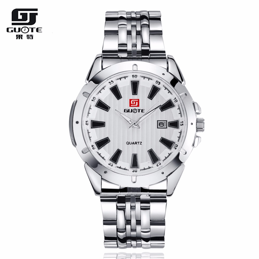 GUOTE Brand New Luxury Fashion Business Watch Men Stainless Steel Calendar Quartz Wristwatch Simple Elegant Relogio