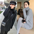 women turtleneck pullover cashmere sweater long loose sweater solid color knitted basic wool sweater lady plus size 2016 winter