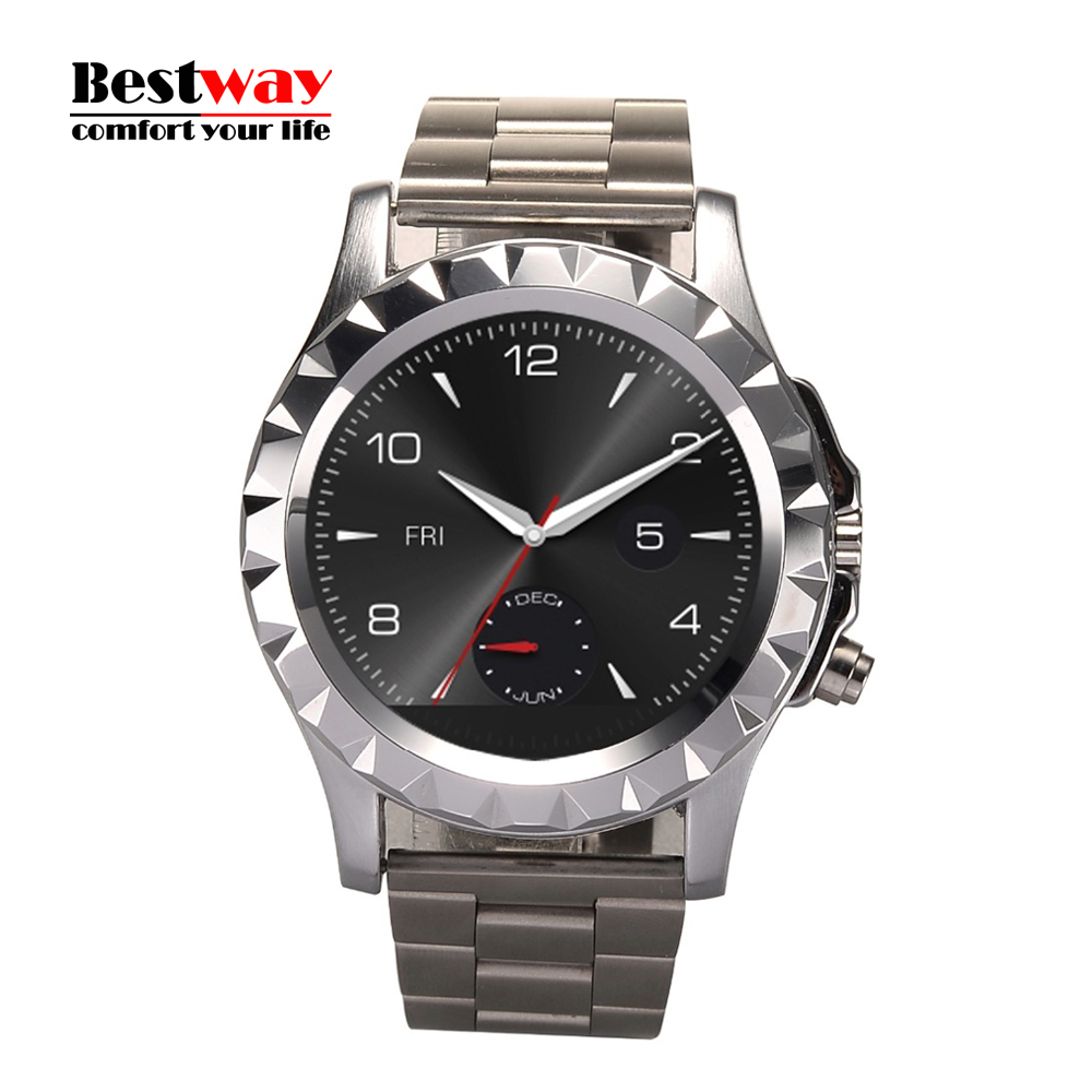Luxury Stainless Steel Band 1 22 Round Screen Dial font b Smartwatch b font Waterproof 3