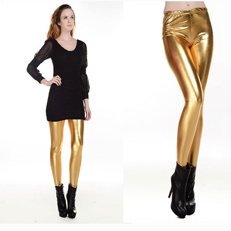 Punk Style Women Basic Elastic Leather Leggings Glossy Color All Match Ankle Length Faux Leather Leggings