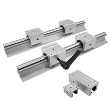 2 Pcs SBR16 16 Mm Lineaire Rail Elke Lengte Ondersteuning Ronde Geleiderail + 4 Stuks SBR16UU Glijstuk Voor cnc