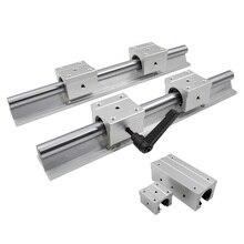 2 個 SBR16 16 ミリメートルリニアレール任意の長さ支持ラウンドガイドレール + 4 個 SBR16UU スライドブロック cnc