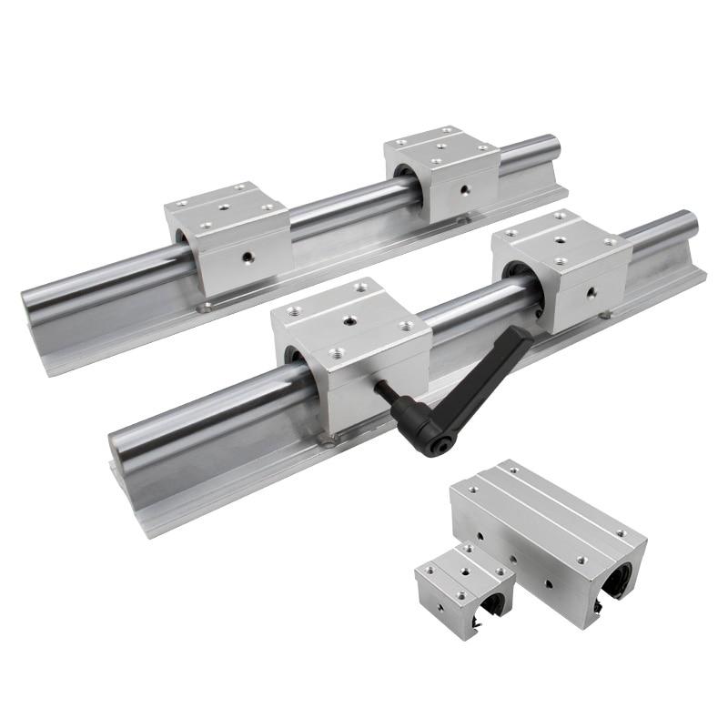 2 set SBR16-450mm 16MM LINEAR SLIDE GUIDE RAIL SHAFT+4 SBR16UU bearing Block CNC