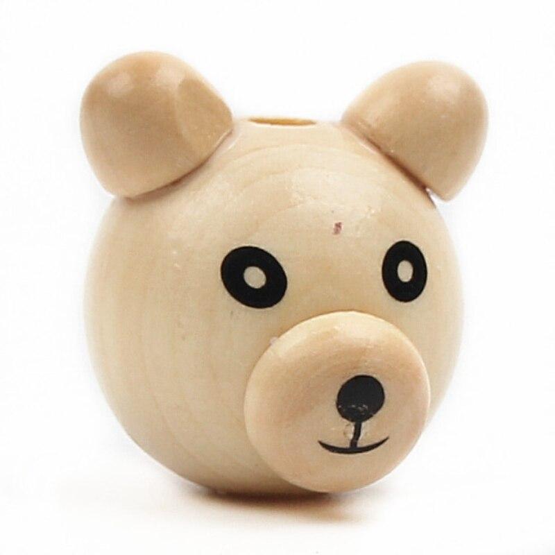 5pcs Diy 3d Bearded Bear Wood Color Cute Bear Wood Beads