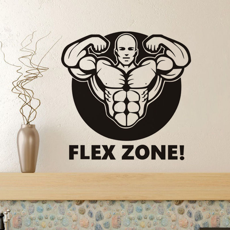 Sport Lifestyle Work Out Wall Sticker For Gym Muscle Man and Quote Flex Zone Art Wall Decal Vinyl Self Adhesive Stickers