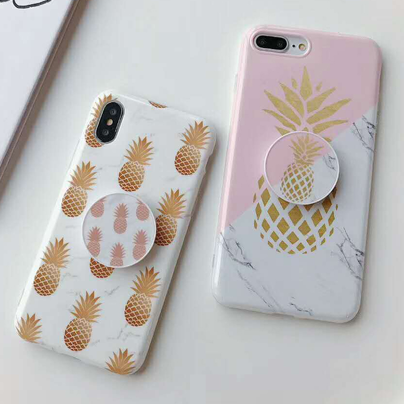 Bracket Gold Pineapple Phone Cases For iPhone XS Max XR XS 6 6S 7 8 Plus X Soft IMD Marble Texture Phone Back Cover Coque Gift (6)