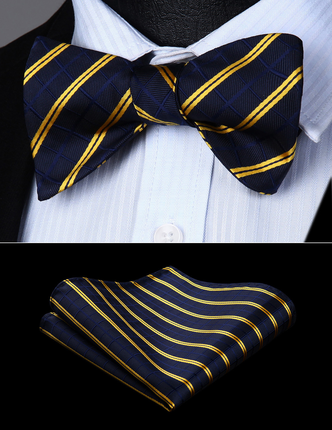 Bow Tie Handkerchief Set Men Woven Navy Blue Yellow Striped Self Bow Tie Pocket Square Set#BC816VS