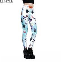 LEIMOLIS 3D print Eyeball Skull Stars Gothic harajuku sexy plus size high waist push up fitness workout leggings women pants
